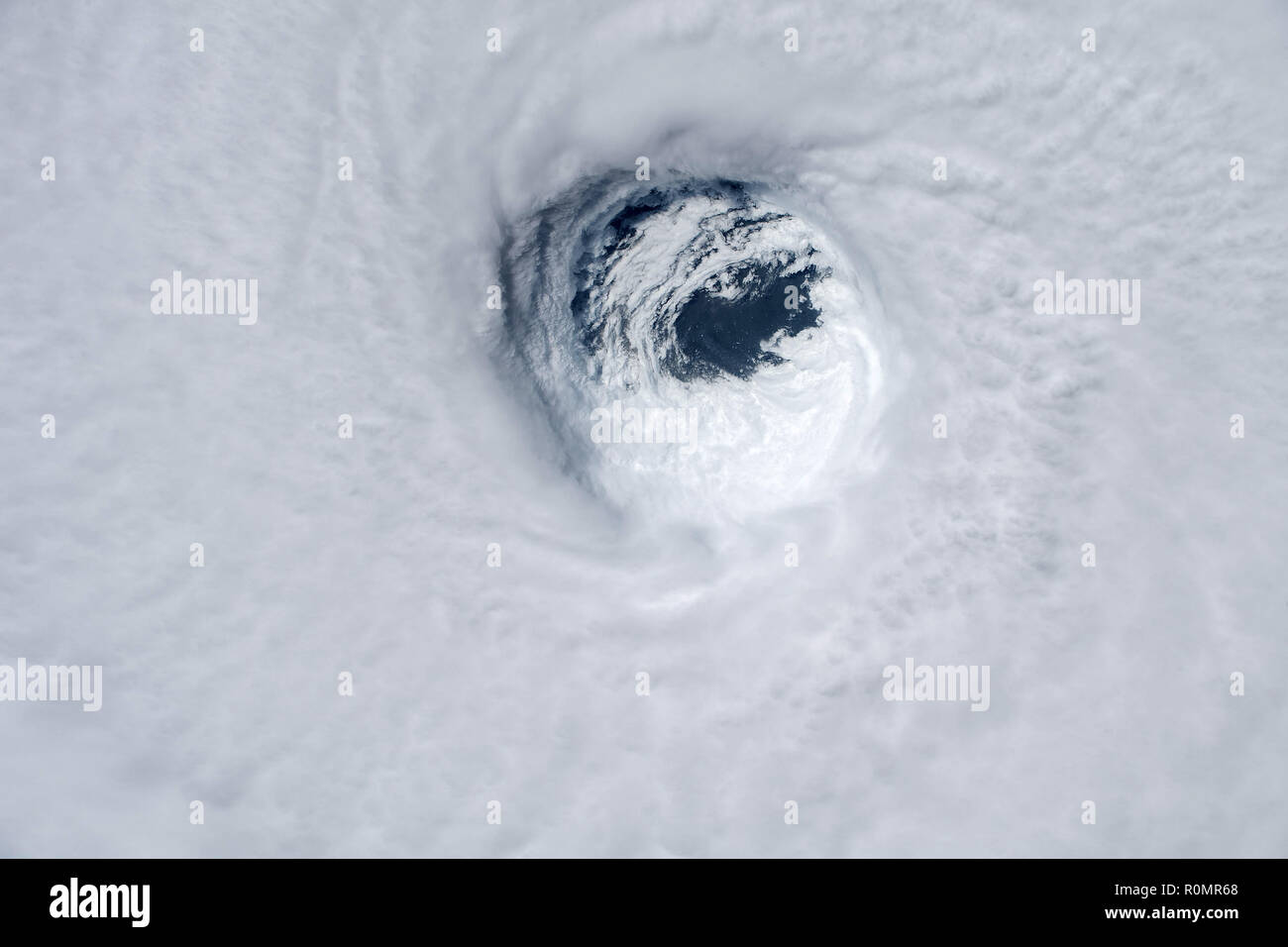 Hurricane Michael was captured from the International Space Station after the storm made landfall as a category 4 hurricane over the Florida panhandle Stock Photo