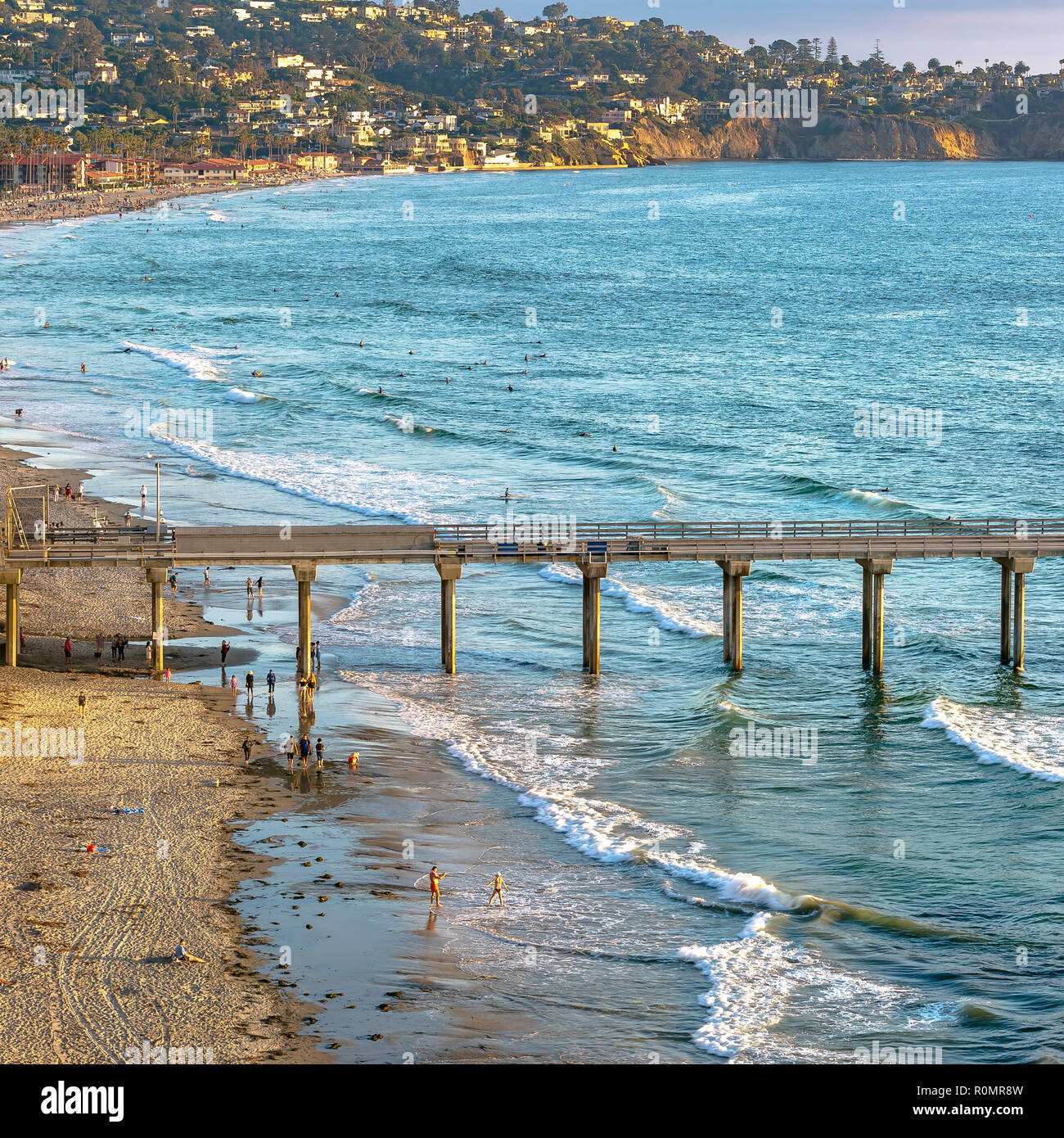 Scripps Pier and coastal houses in San Diego CA - Stock Image