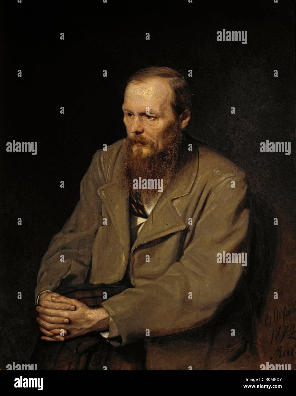Portrait of Fedor Dostoyevsky. Date/Period: 1872. Painting. Oil on canvas. Height: 99 cm (38.9 in); Width: 80.5 cm (31.6 in). Author: Vasily Perov. WASSILI GRIGORJEWITSCH PEROW. Perov, Vasili Grigoryevich. - Stock Image
