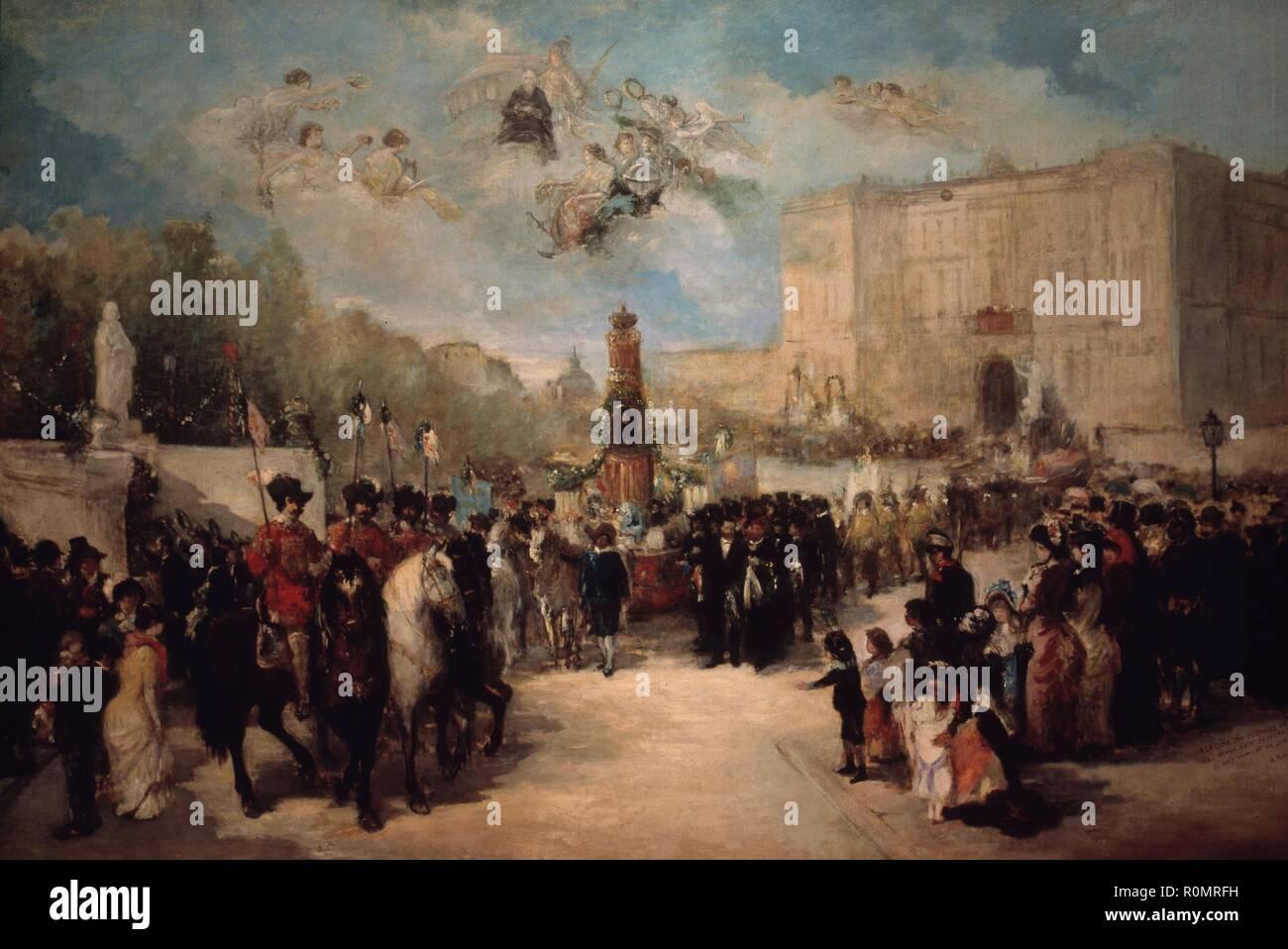 CALDERON DE LA BARCA, PEDRO ESCRITOR ESPAÑOL. MADRID 1600-1681 ' TRASLADO DE LOS RESTOS DE CALDERON AL PANTEON DE LOS HOMBRES ILUSTRES ' OLEO DE ANTONIO PEREZ RUBIO . MUSEO MUNICIPAL. MADRID. Author: PEREZ RUBIO, ANTONIO (1822-1888). - Stock Image