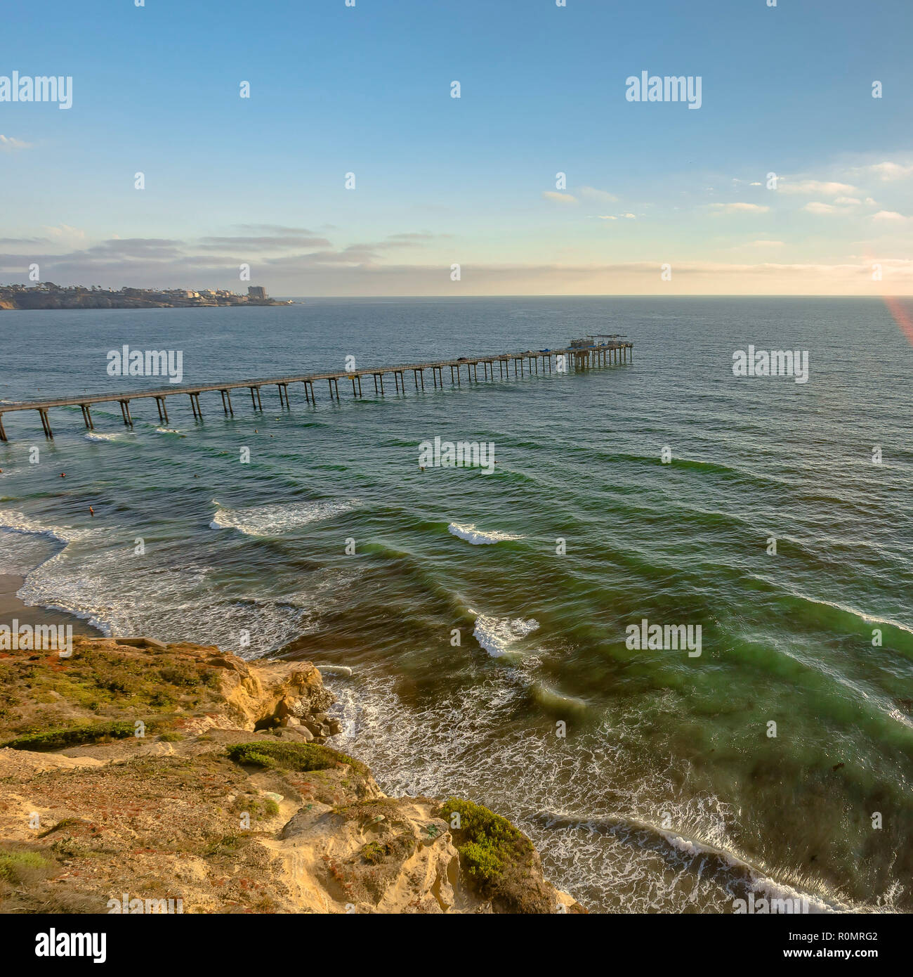 Scripps Pier in the coast of San Diego California - Stock Image