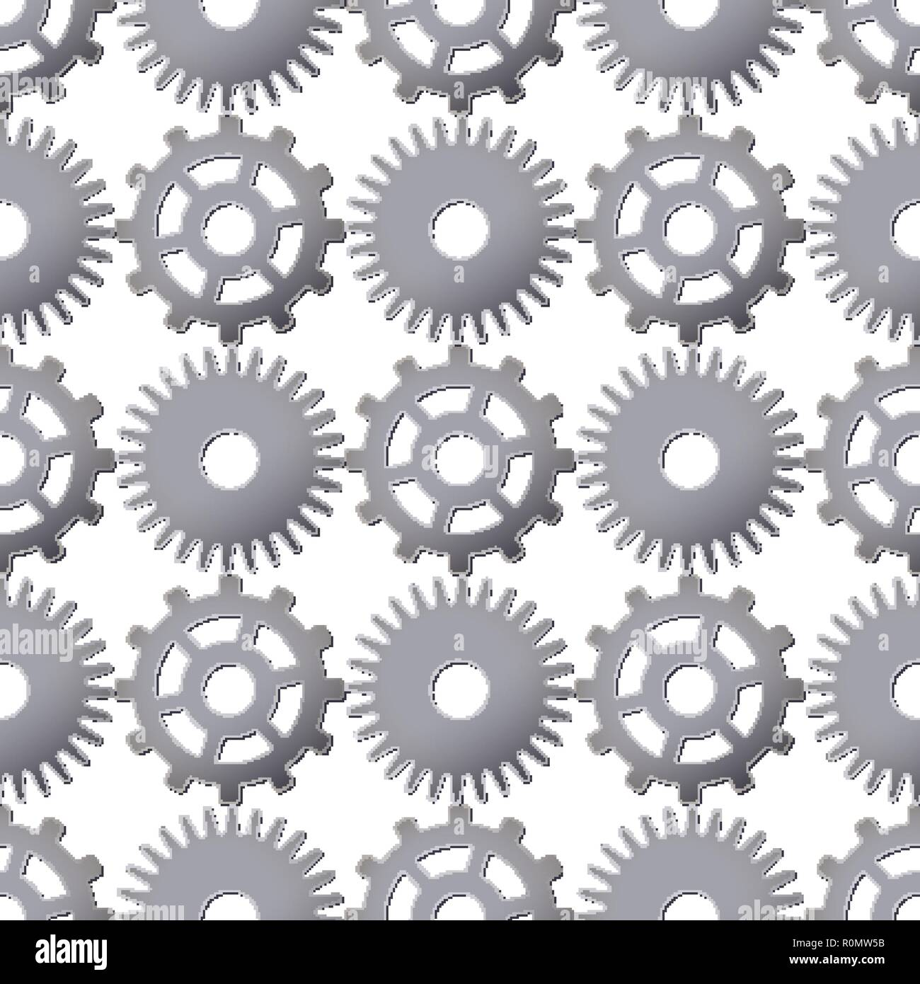 Seamless pattern background with metallic gears. Vector illustration. Machine detail design. - Stock Vector