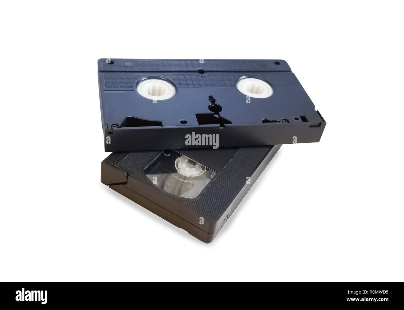 Two old black VHS tapes isolated over white Stock Photo