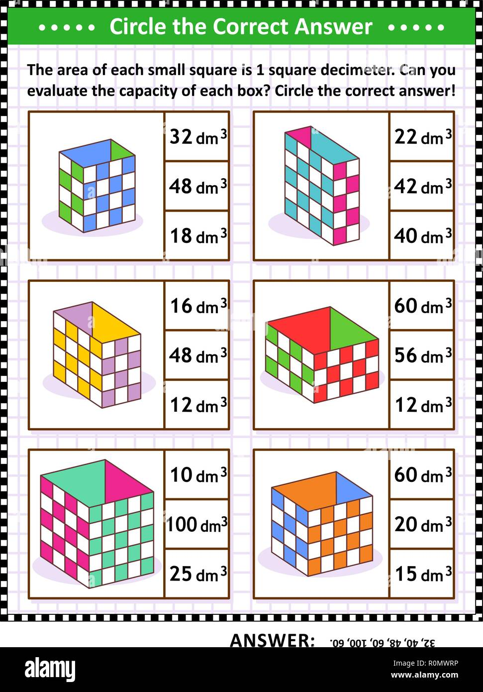 Math skills and IQ training visual puzzle or worksheet. Evaluate the capacity of each box.  Circle the correct answer. Answer included. - Stock Vector