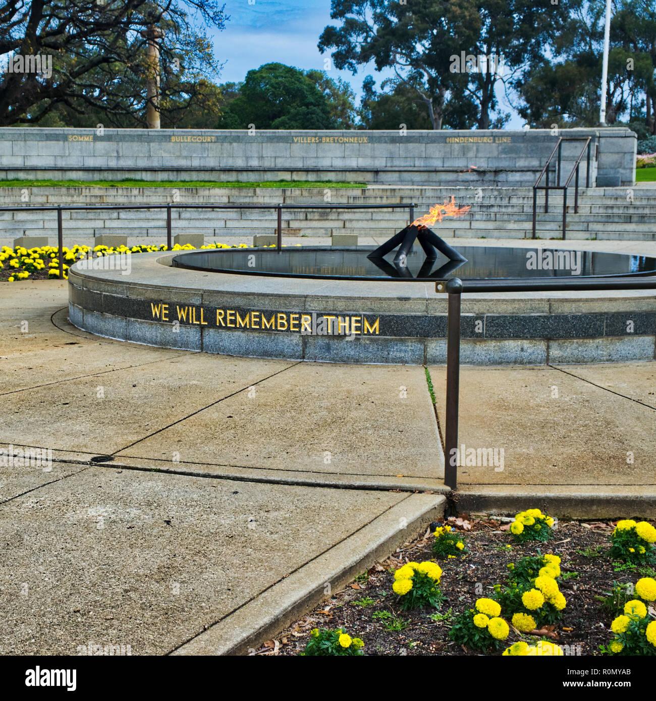 Eternal flame memorial in Kings Park Perth WA Stock Photo