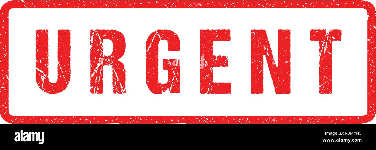 Urgent Red Seal Rough Letters Isolated on White. Red Ink Grunge Rubber Stamp Imitation Effect. - Stock Image