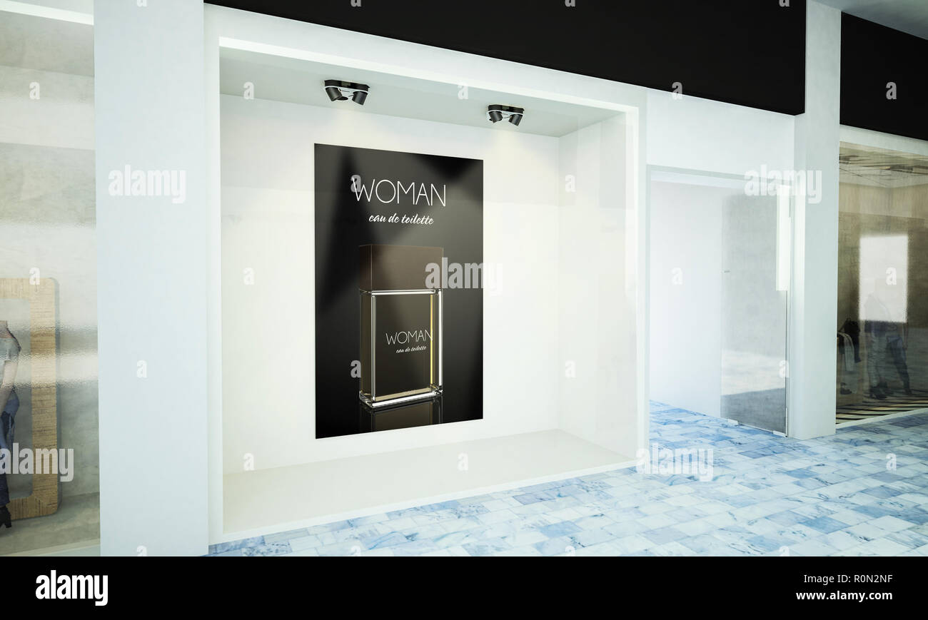 Poster perfume on storefront 3d rendering - Stock Image