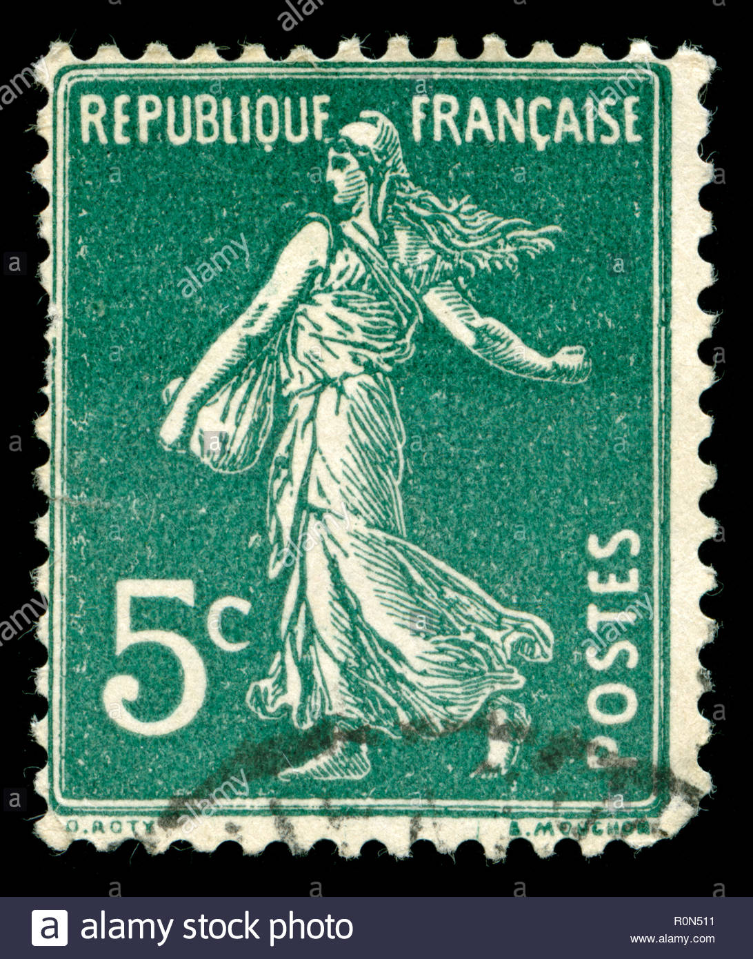 Postage stamp from France in the Semeuse solid background series - Stock Image