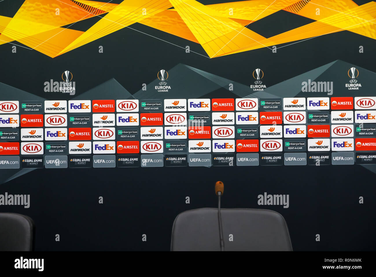 Thessaloniki, Greece - Sept 20, 2018: Interview area with sponsors logos before the UEFA Europa League between PAOK vs FC Chelsea played at Toumba Sta - Stock Image