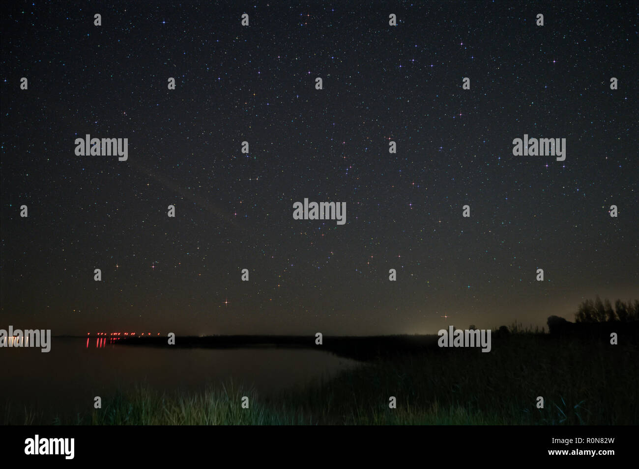 Night Sky over Fischland in Germany - Stock Image
