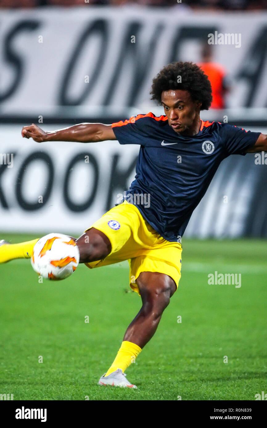 Thessaloniki, Greece - Sept 20, 2018: Player of Chelsea Willian