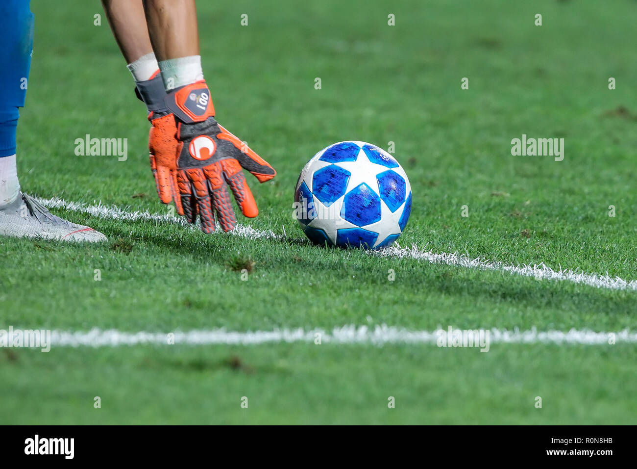 Thessaloniki, Greece - August 29, 2018: Close-up of goalkeeper's hands holding a official ball during the UEFA Champions League Play-offs , 2nd leg PA - Stock Image