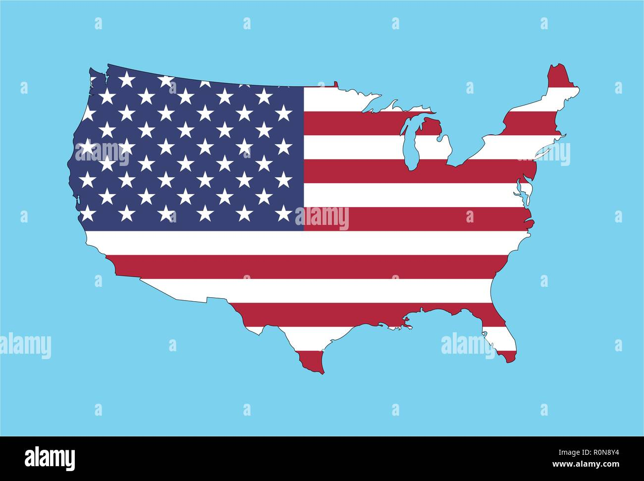 United States of America Map with USA Flag. All the objects, shadows and background are in different layers. Stock Vector