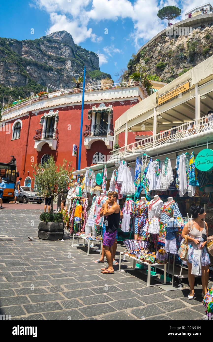 Souvenir shop, souvenirs shops, scenic town Positano, Beautiful Amalfi Coast, Naples Italy, tourist concept, tourists travellers, holiday vacation - Stock Image