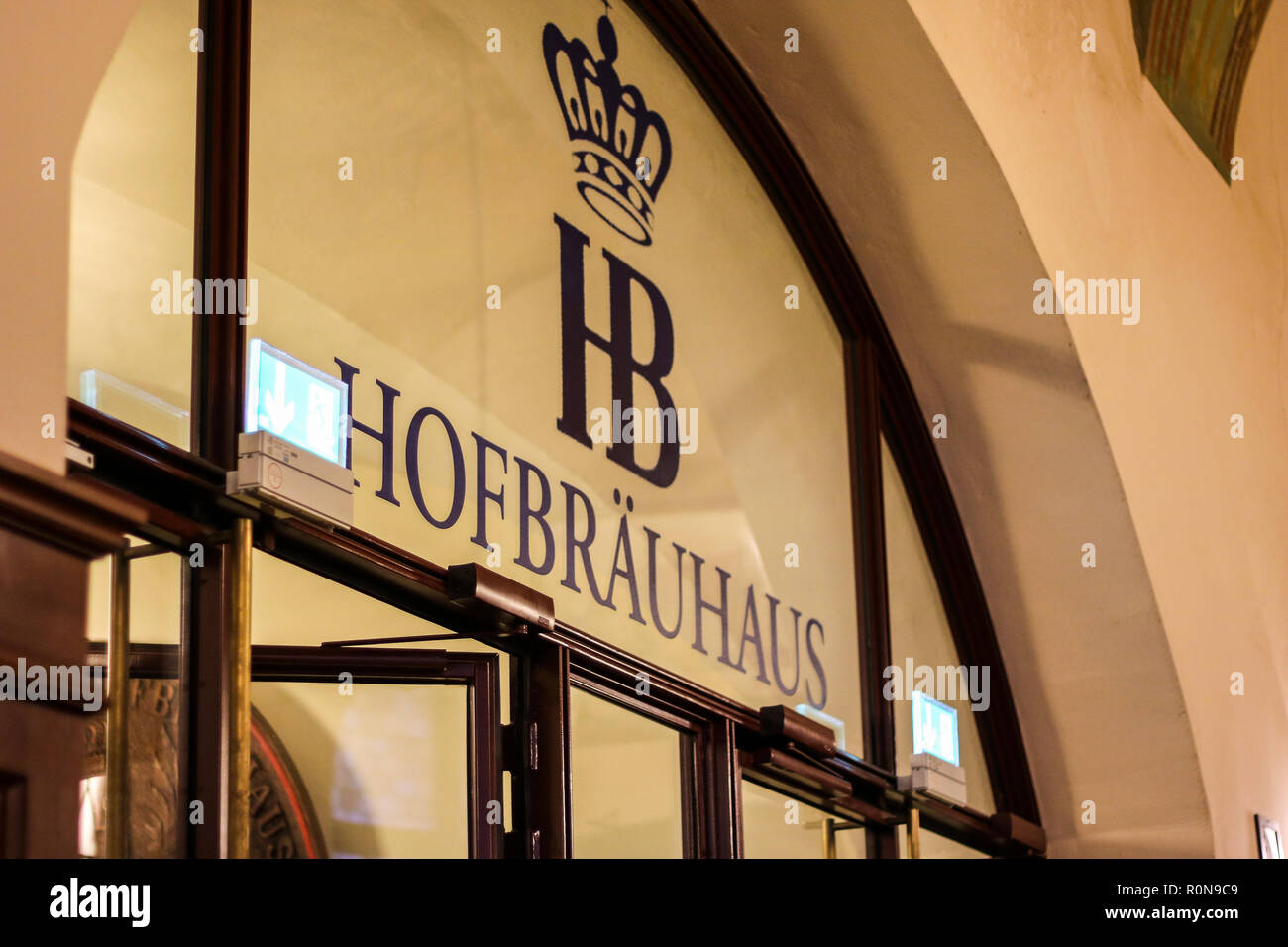 Entrance hofbrauhaus, famous beer hall, Munich, Munchen, Germany, beer brew house - Stock Image