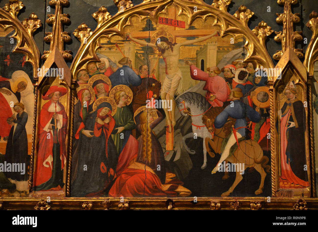 Details of the Fifteenth-century reredos showing scenes in the life of Saint John and Saint Catherine, Sigüenza Cathedral (Spain) - Stock Image