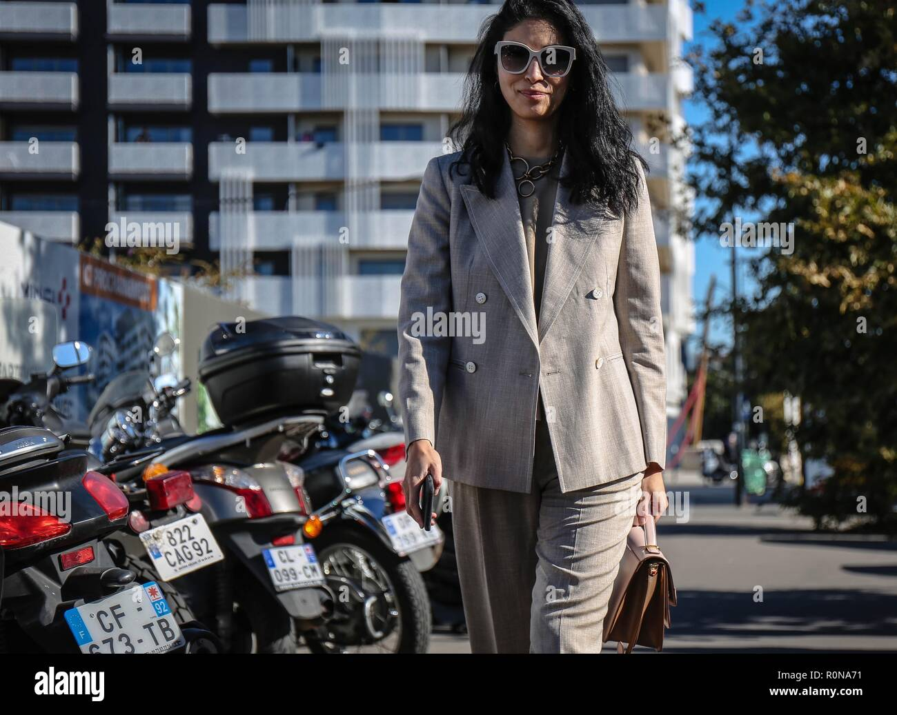 PARIS, France- September 30 2018: Caroline Issa on the street during the Paris Fashion Week. Stock Photo