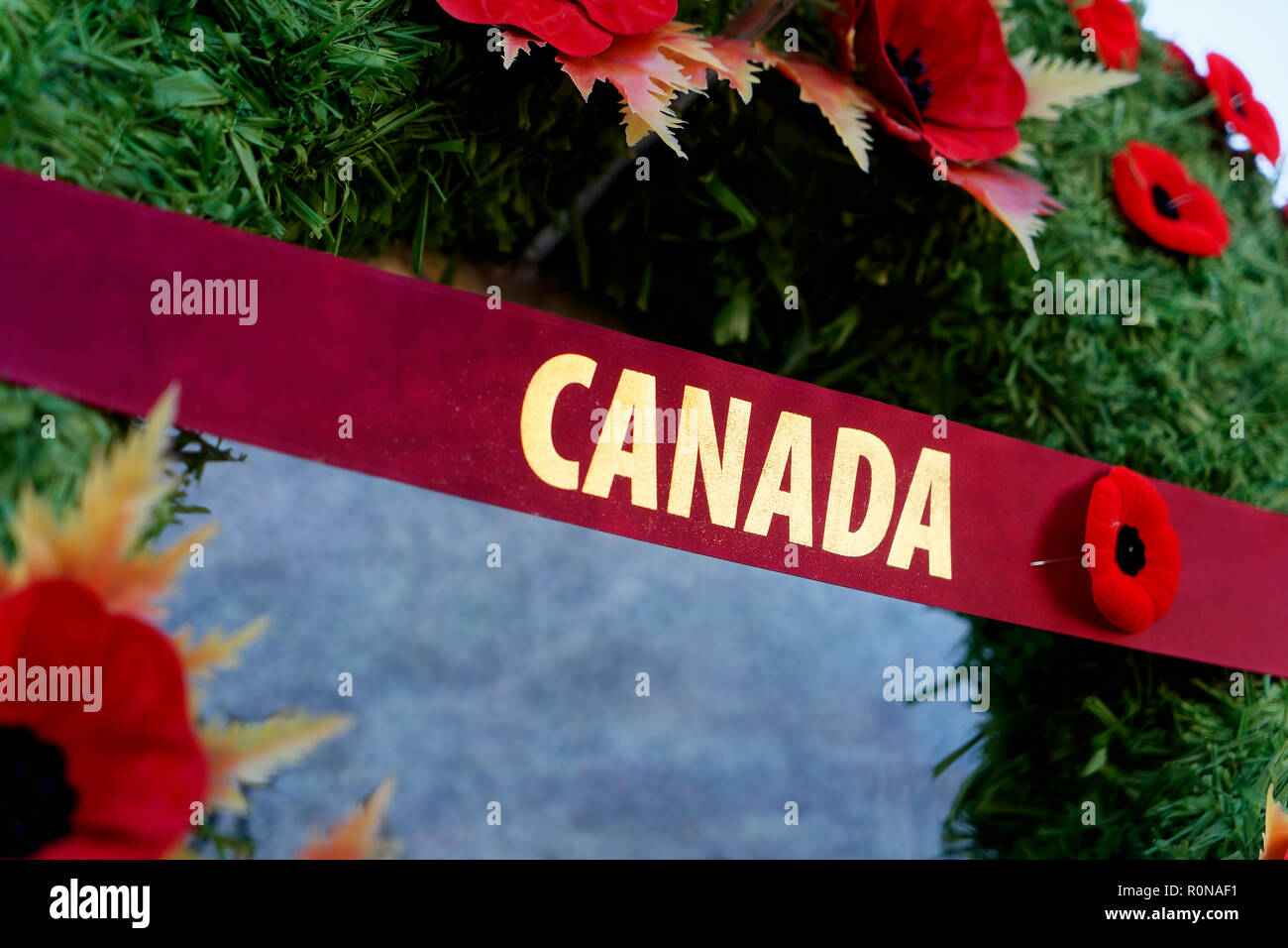Remembrance Day wreath covered in poppies hanging on a Canadian war memorial. - Stock Image