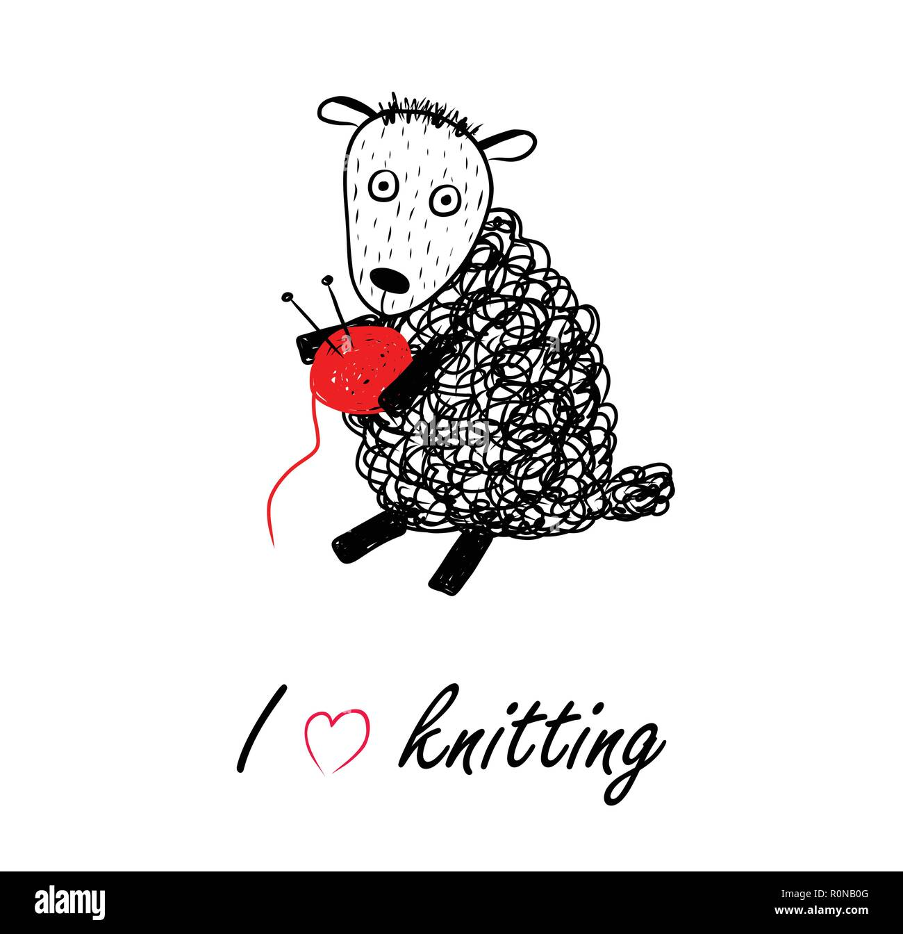 Knitting Logo With Funny Sheep And Ball Of Threads Ball Of Red Yarn With Knitting Needles Knit Icon Poster Background Postcard Lettering Vector Stock Vector Image Art Alamy