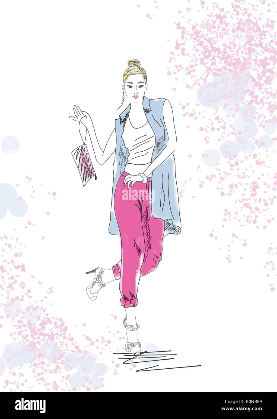 Beautiful Young Fashion Girl Stylish Woman In Summer Fashion Clothes Hand Drawn Girl With Bag Sketch Vector Summer Illustration Eps 10 Stock Vector Image Art Alamy