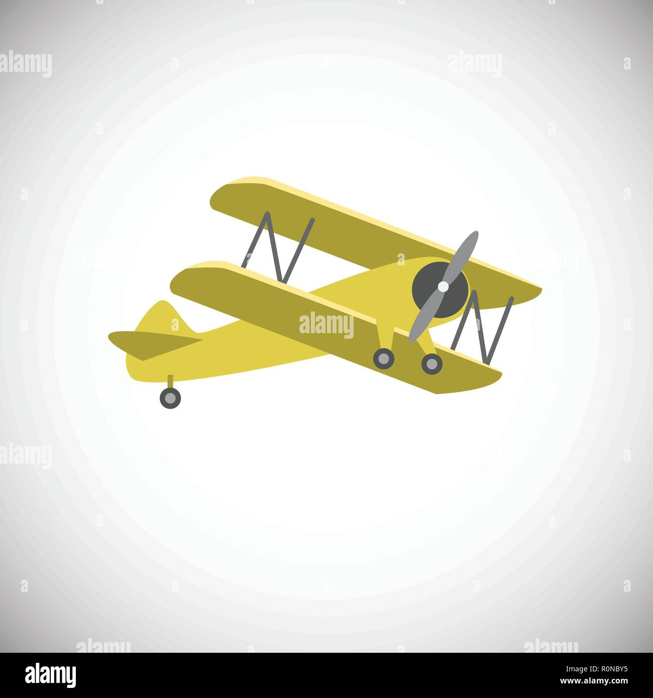 Yellow biplane aircraft on white background icon - Stock Vector