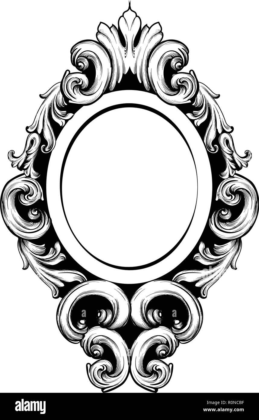 Mirror frame vector Pink Vintage Mirror Frame Vector Baroque Rich Design Elements Decor Royal Style Ornament Alamy Vintage Mirror Frame Vector Baroque Rich Design Elements Decor