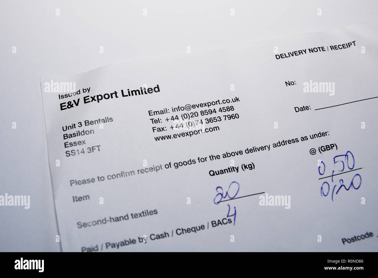 ff78c065f9 Cash for clothes business E V Export Limited. Delivery note receipt for  second hand textiles