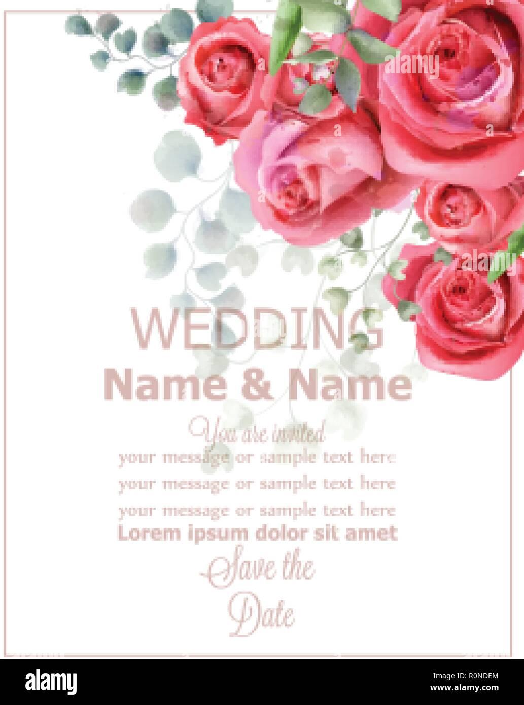 Rose flowers wedding card watercolor Vector. Beautiful vintage ...