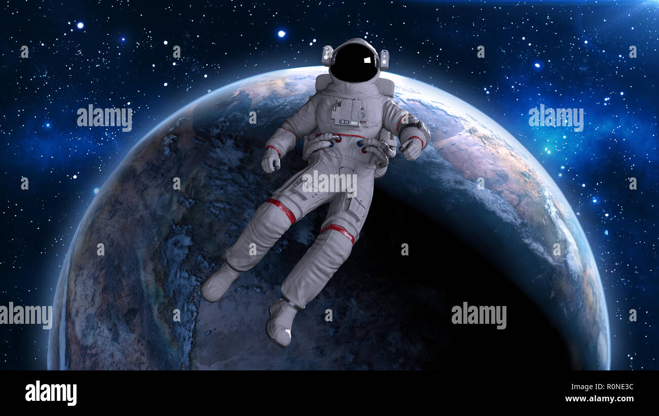 Astronaut floating back above planet Earth, cosmonaut drifting in space, 3D rendering - Stock Image