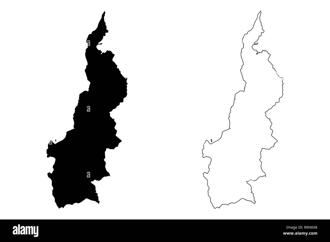 West Sulawesi (Subdivisions of Indonesia, Provinces of Indonesia) map vector illustration, scribble sketch Sulawesi Barat map - Stock Image