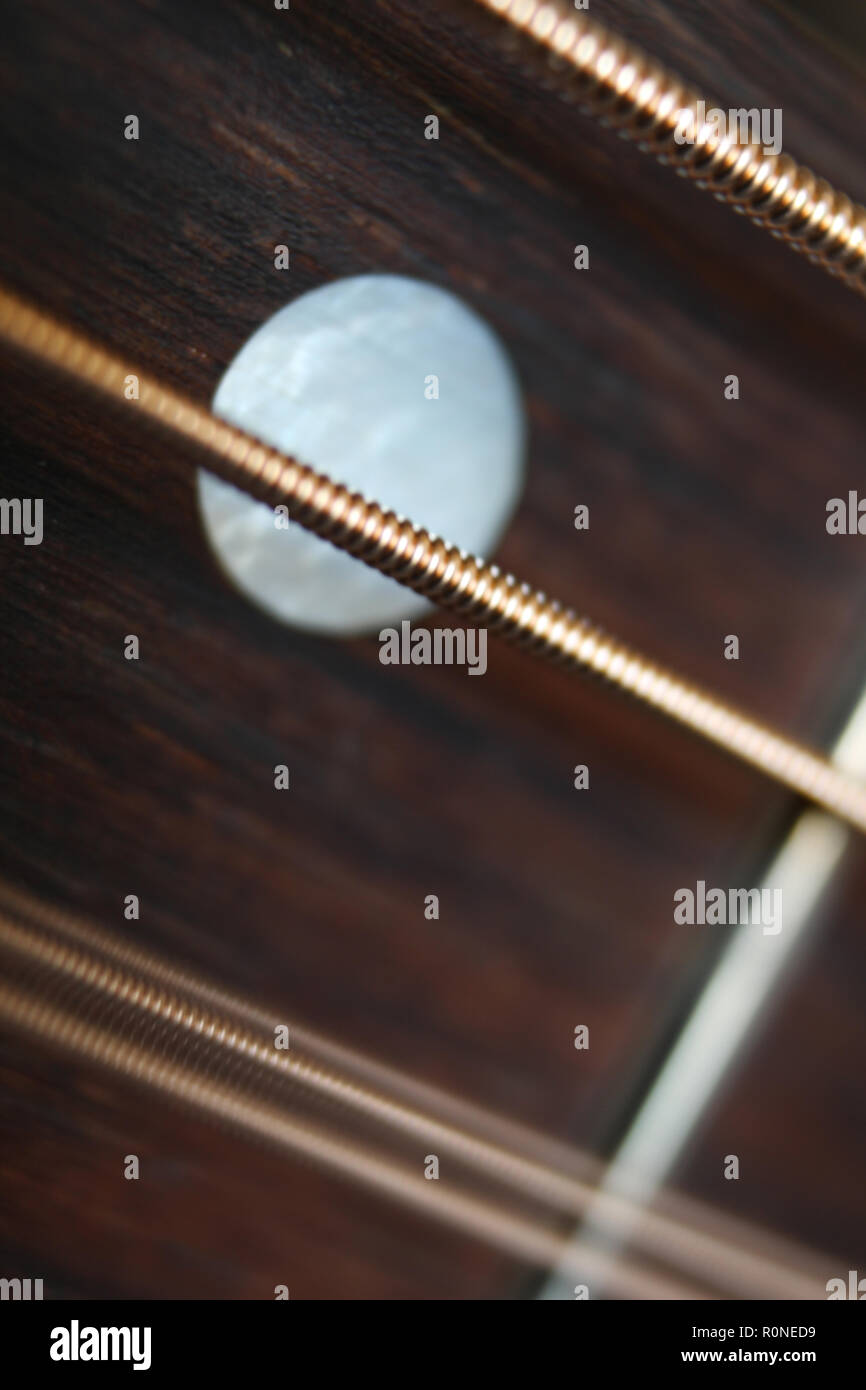 Acoustic guitar fretboard with steel strings vibration, close-up - Stock Image