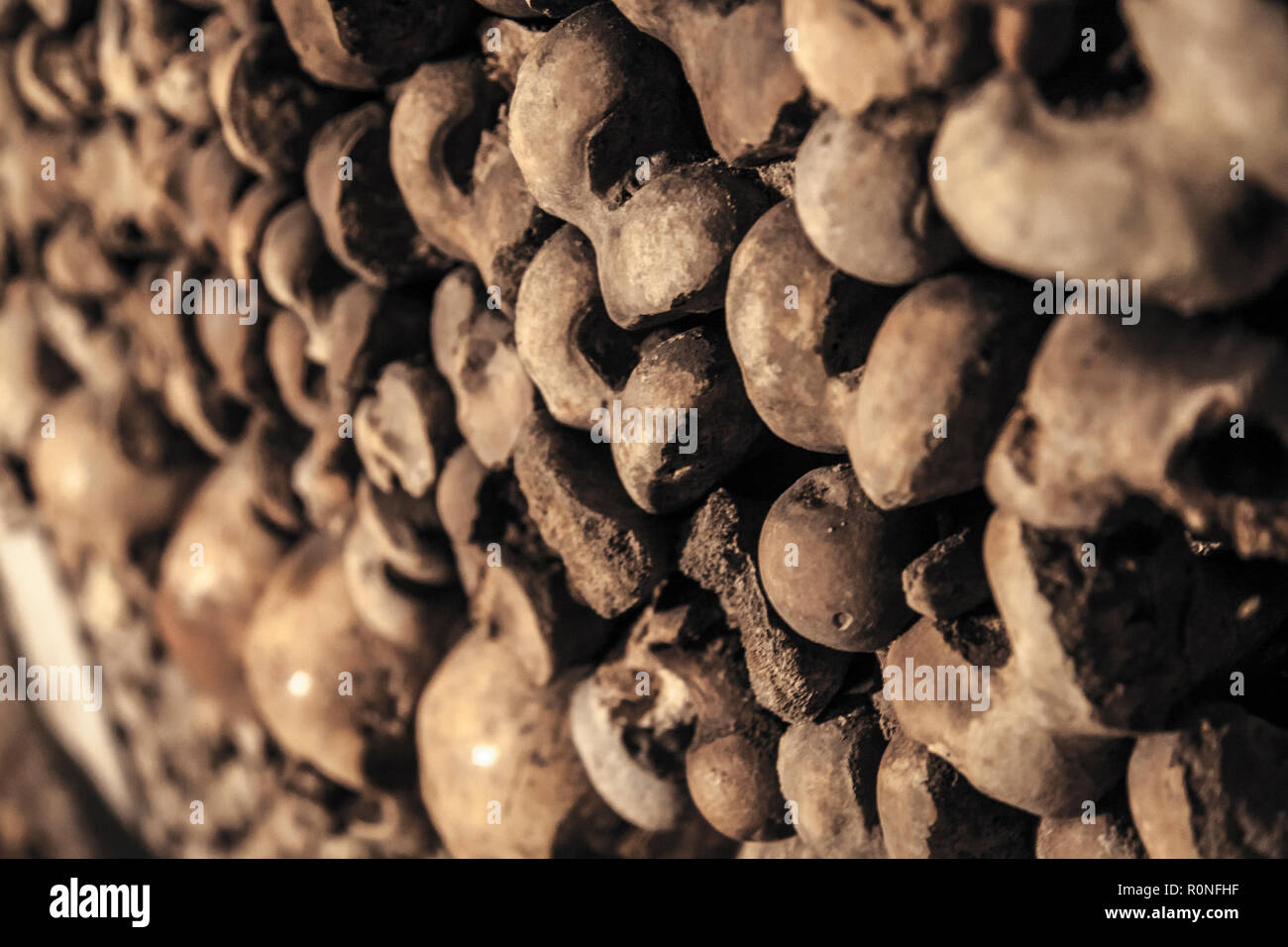 catacombs of Paris. Burial of millions of people in underground labyrinths. - Stock Image