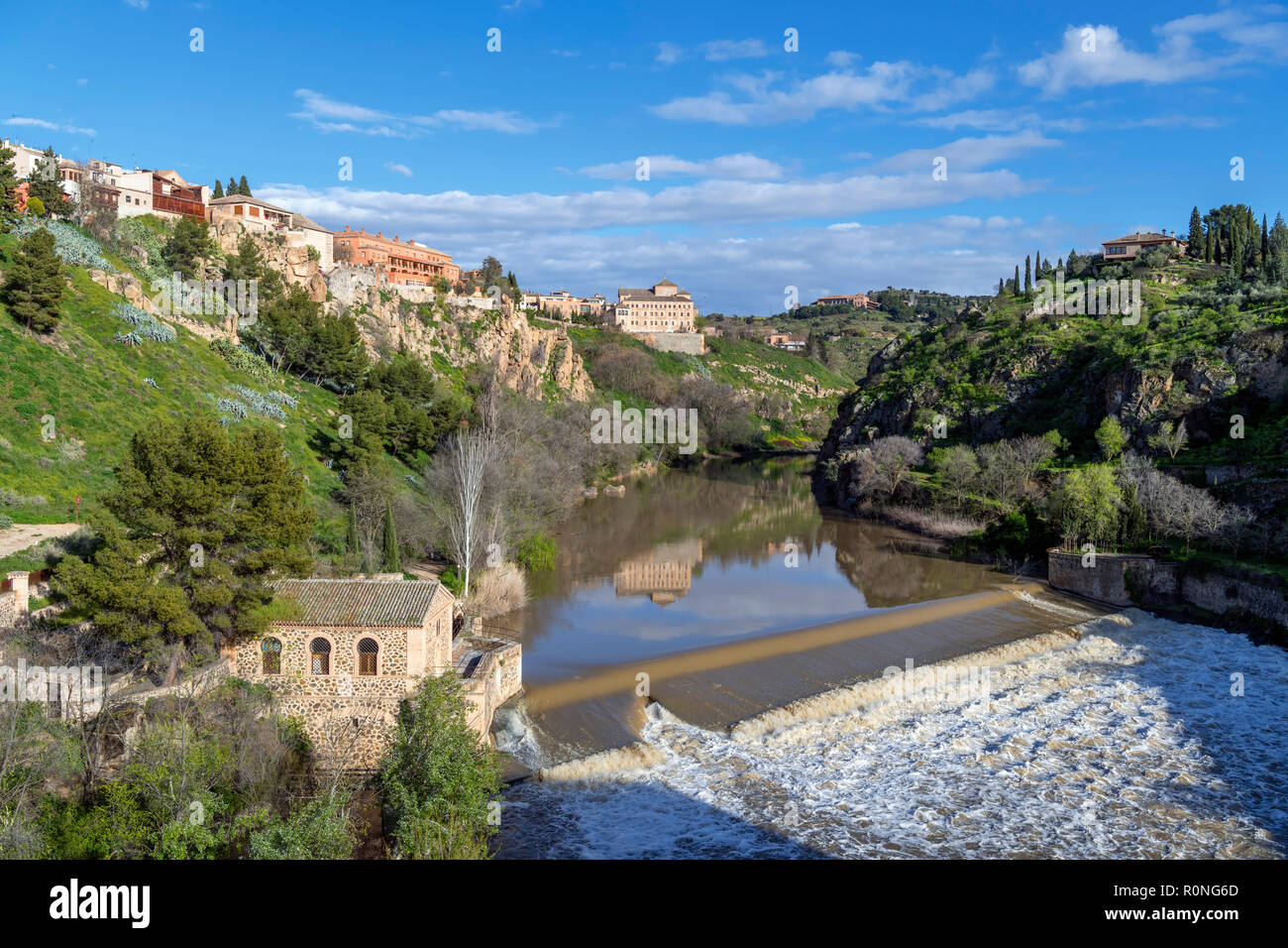 River Tagus from the Puente San Martin, Toledo, Castilla-La Mancha, Spain - Stock Image