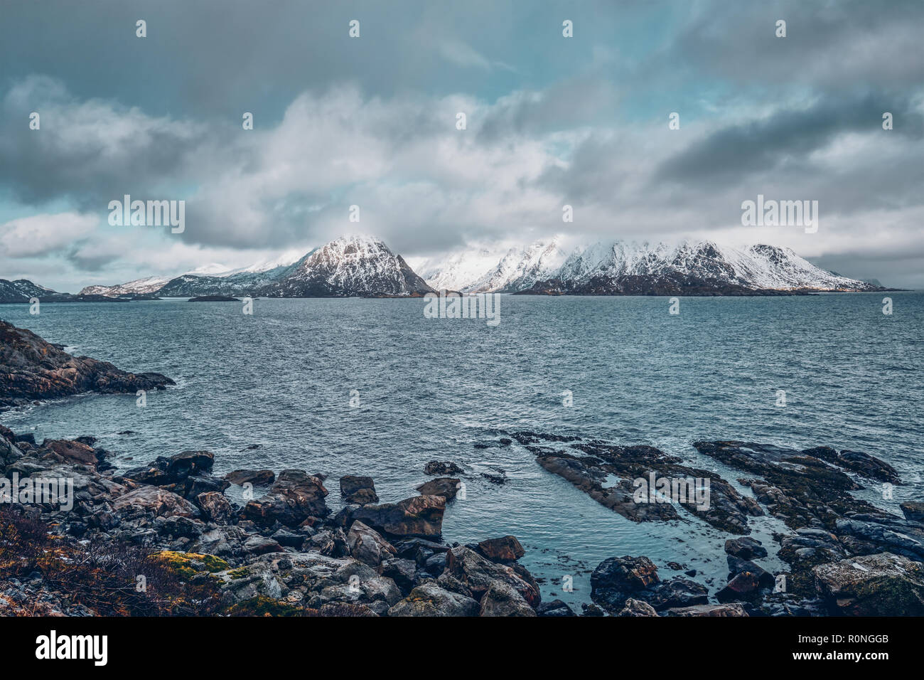 Norwegian fjord and mountains in winter. Lofoten islands, Norway Stock Photo