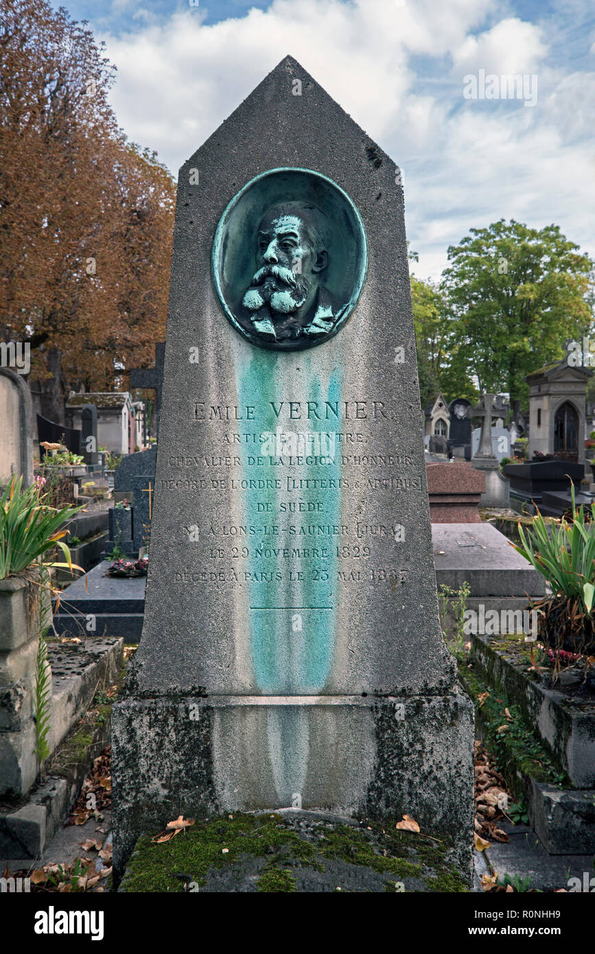 The grave of Émile Louis Vernier (1829-1887), French painter and lithographer, in Pere Lachaise cemetery, Paris, France. - Stock Image