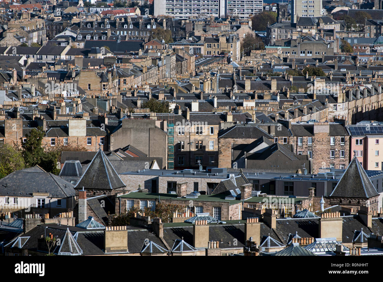 Looking north from Calton Hill over the rooftops of Leith, Edinburgh, Scotland, UK. - Stock Image