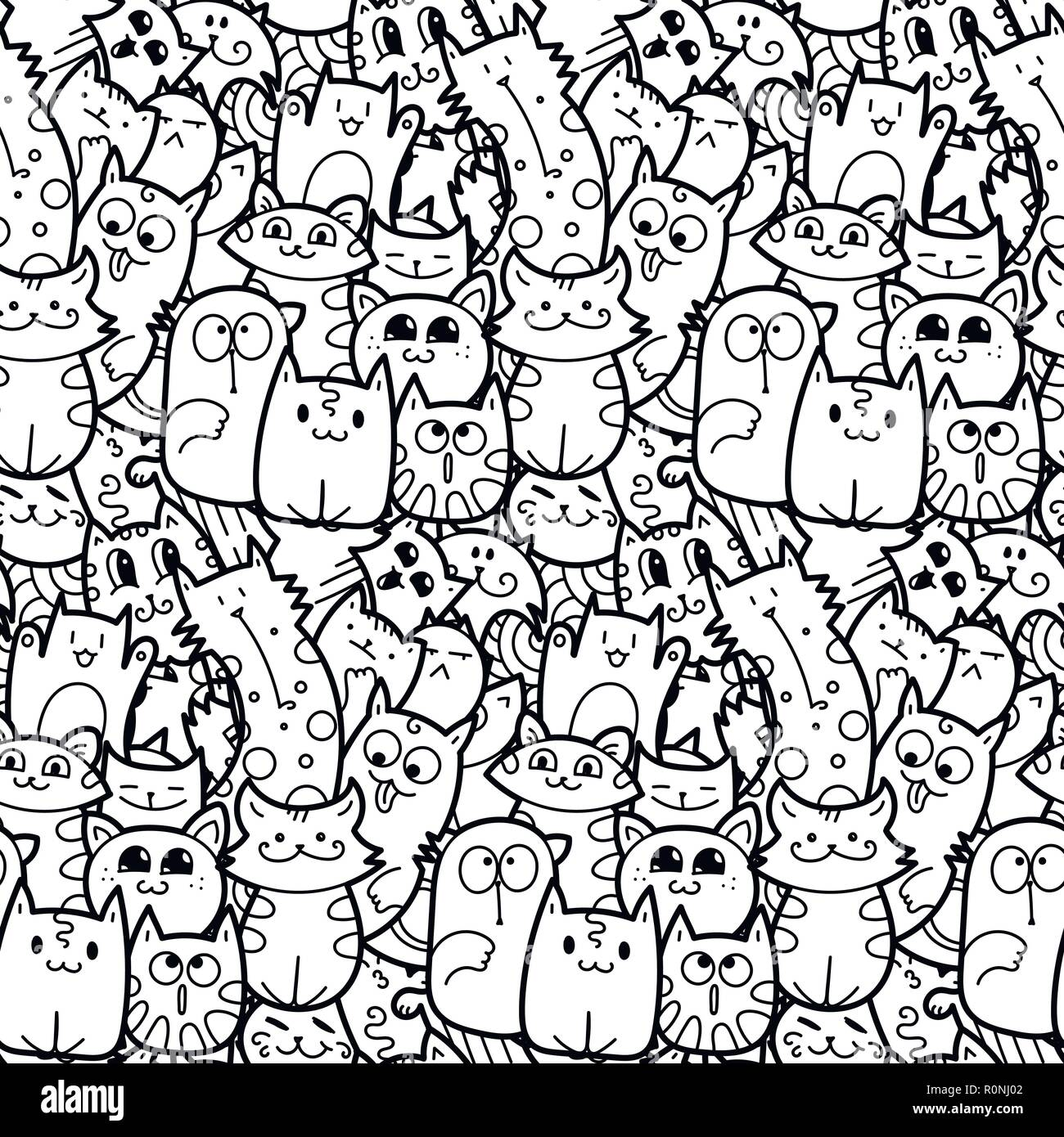 Funny doodle cats and kittens seamless pattern for prints, designs ...