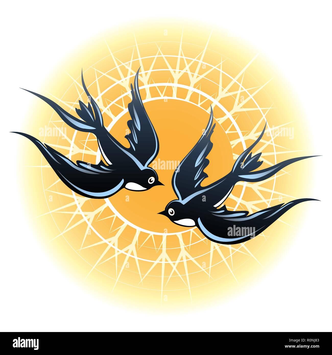 Two flying swallow birds against shining sun. Vector illustration. - Stock Vector
