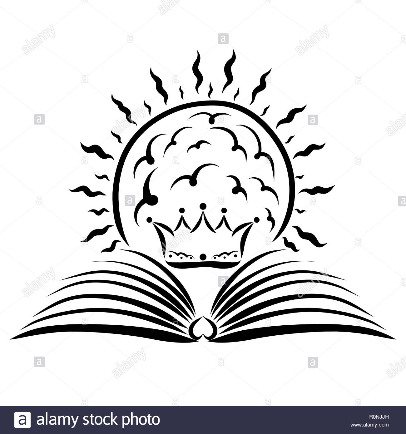 An open book, a crown and a shining sun, the light of education or truth - Stock Image