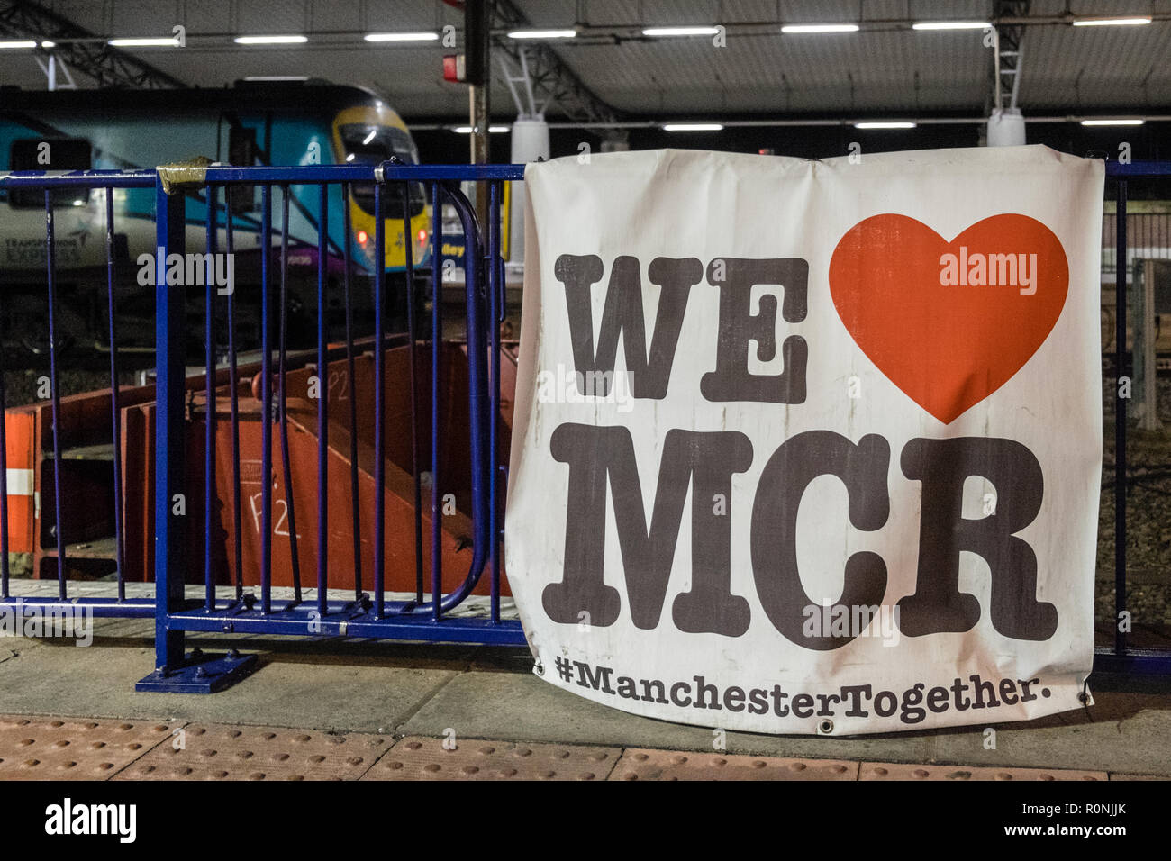 Manchester Airport,train,station,We heart,love,MCR,Manchester,symbol,poster,sign,signage,handmade, Manchester Together, - Stock Image