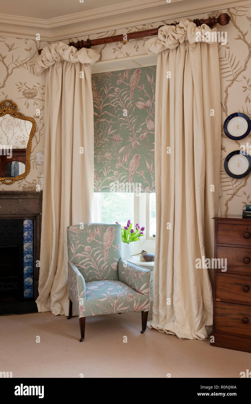 Matching armchair and blinds in Carlton Towers in Yorkshire - Stock Image