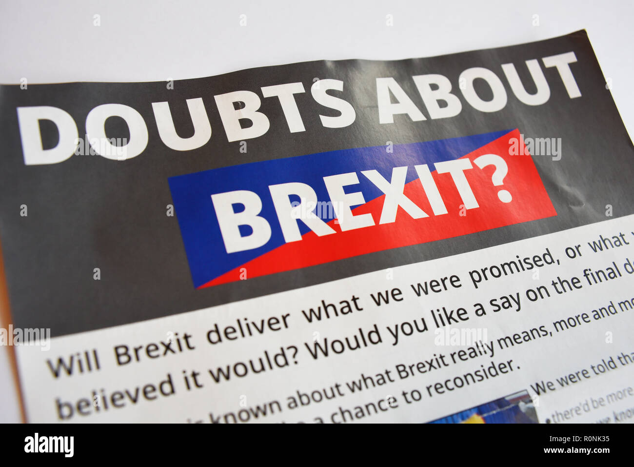 Brexit leaflet from the Lib Dems. Pro European Union remain flyer posted through householders letter boxes. Political. Politics. Liberal Democrats - Stock Image