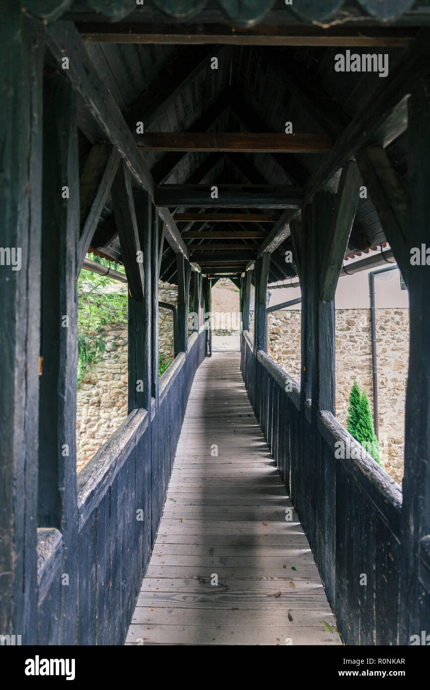 Old Covered Wooden Bridge Internal View Stock Photo 224210975 Alamy