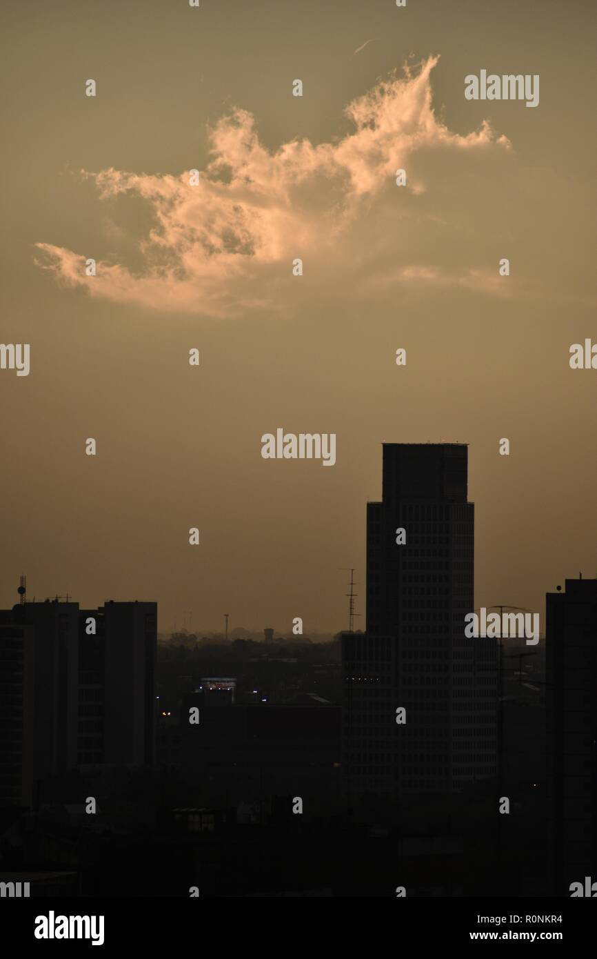 melancholic image with strange cloud over skyscraper at Buenos Aires, Argentina - Stock Image
