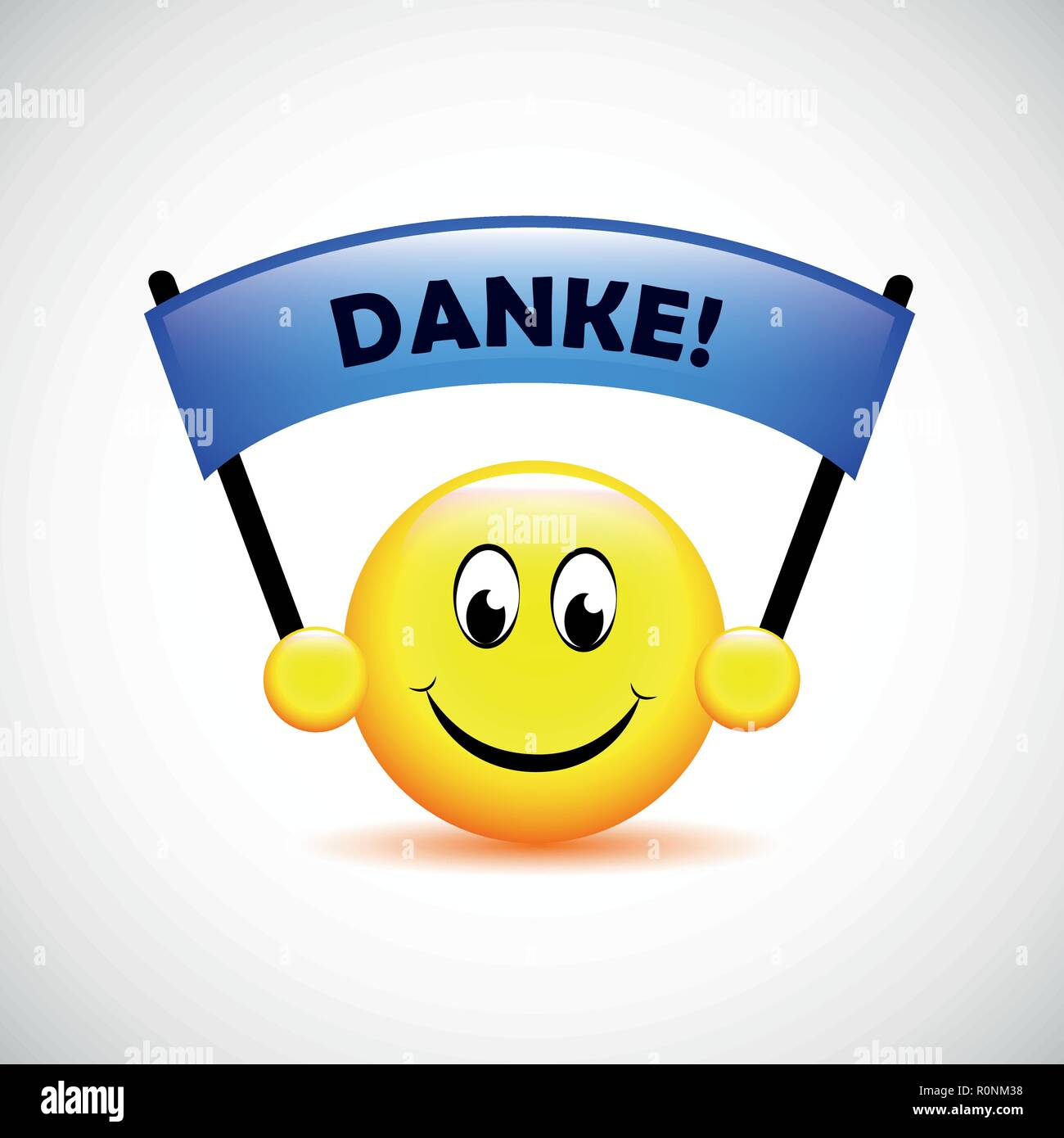 happy face with german text Danke translation Thank You typography vector illustration Stock Vector