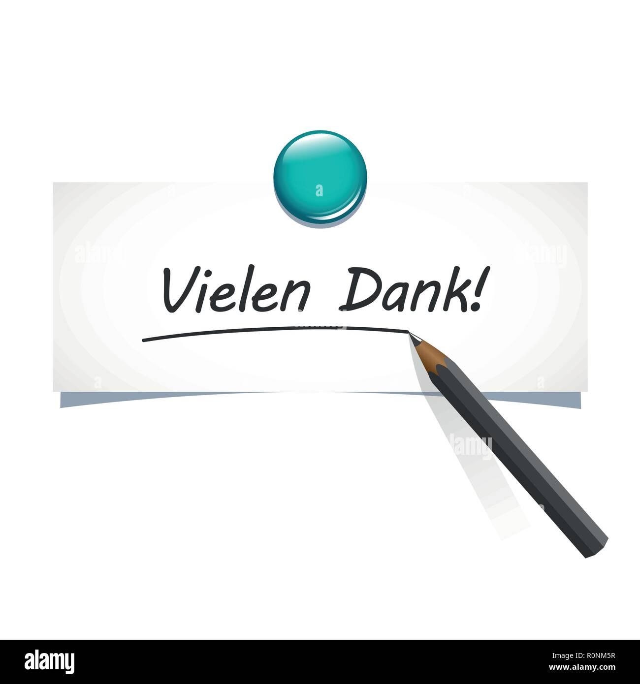 german text Vielen Dank translation Many Thanks calligraphy inscription hand drawn lettering vector illustration - Stock Vector