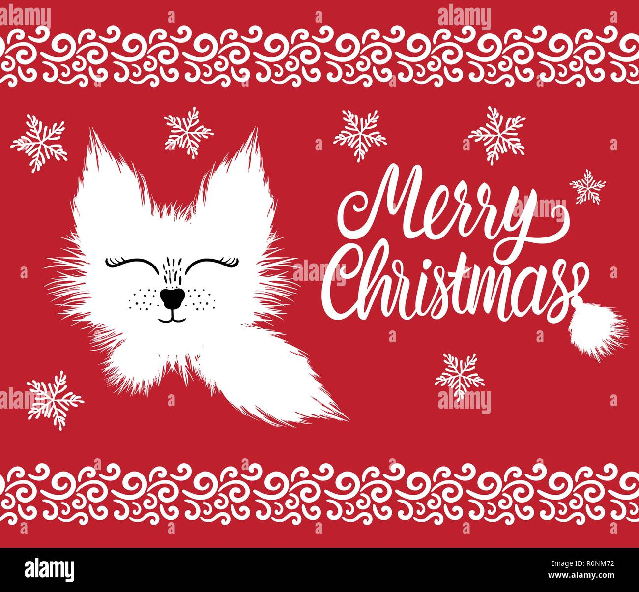 Merry Christmas lettering inscription. Fur cute winter character white hand drawn fluffy isolated on red background. Kids holiday design card. - Stock Vector