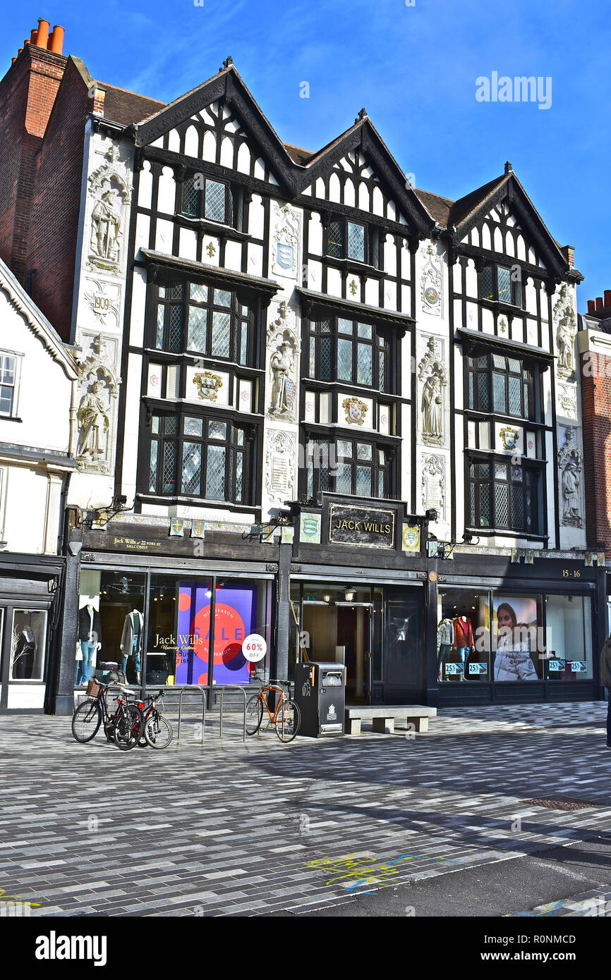 The fashion retailer Jack Wills occupies this old building but the Tudor style facade was only added in early 1900s. Kingston upon Thames, London,UK - Stock Image