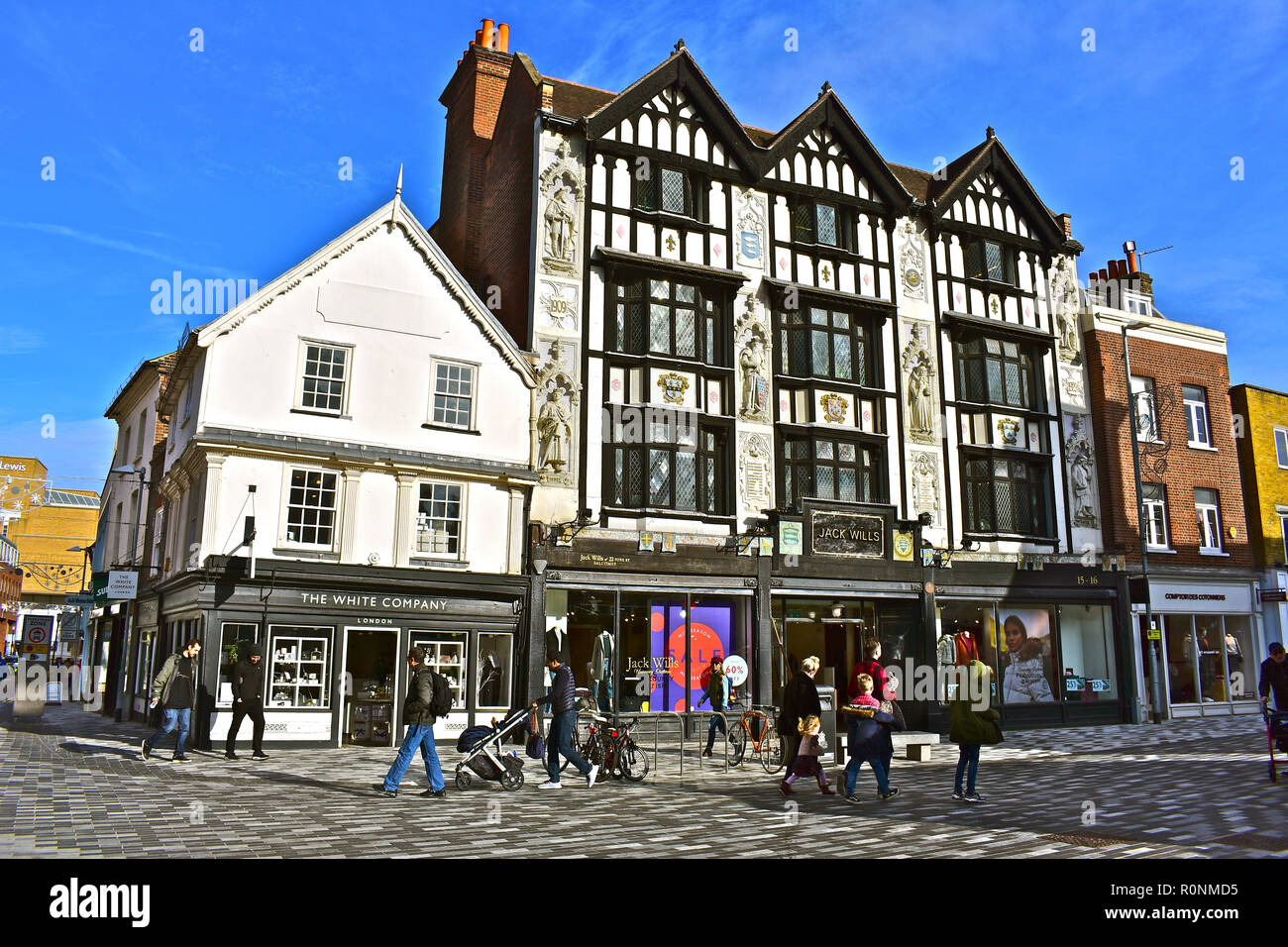 The retailer Jack Wills occupies this old building but the Tudor style facade was only added in early 1900s. Kingston upon Thames, London,England. - Stock Image