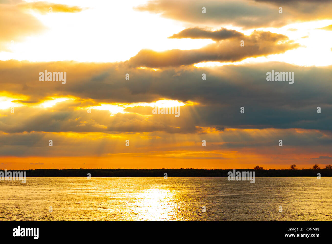 Sunset on the embankment of the Amur river in Khabarovsk. Russia. - Stock Image